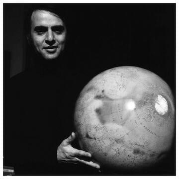 "Carl Sagan // ""Look again at that dot. That's here. That's home. That's us. On it everyone you love, everyone you know, everyone you ever heard of, every human being who ever was, lived out their lives. The aggregate of our joy and suffering, thousands of confident religions, ideologies, and economic doctrines, every hunter and forager, every hero and coward, every creator and destroyer of civilization, every king and peasant, every young couple in love, every mother and father, hopeful child, inventor and explorer, every teacher of morals, every corrupt politician, every 'superstar,' every 'supreme leader,' every saint and sinner in the history of our species lived there, on a mote of dust suspended in a sunbeam."""