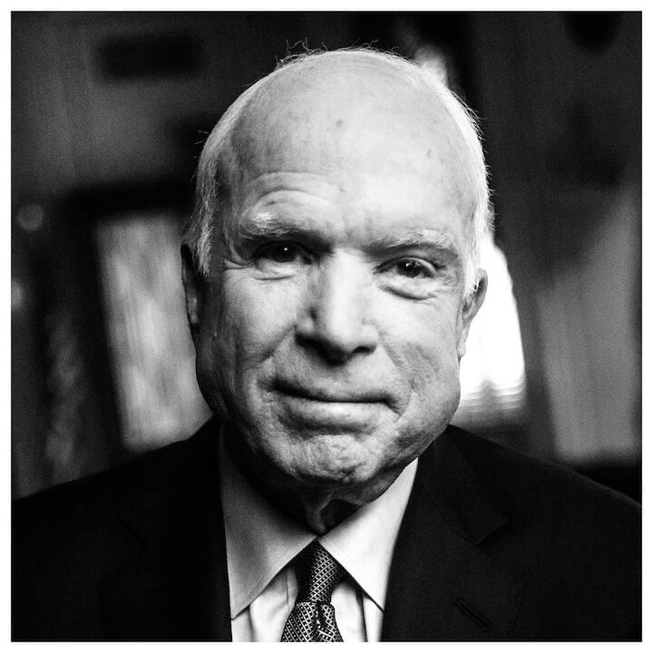 "John McCain // ""The world is a fine place and worth the fighting for and I hate very much to leave it...I hate to leave it. But I don't have a complaint. Not one. It's been quite a ride. I've known great passions, seen amazing wonders, fought in a war, and helped make a peace. I've lived very well and I've been deprived of all comforts. I've been as lonely as a person can be and I've enjoyed the company of heroes. I've suffered the deepest despair and experienced the highest exultation. I made a small place for myself in the story of America and the history of my times... The bell tolls for me. I knew it would. So I tried, as best I could, to stay a 'part of the main.' I hope those who mourn my passing, and even those who don't, will celebrate as I celebrate a happy life lived in imperfect service to a country made of ideals, whose continued service is the hope of the world. And I wish all of you great adventures, good company, and lives as lucky as mine."""